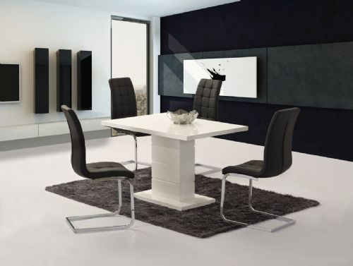 Livio White High Gloss Contemporary Designer 120 cm Compact Dining / 4 White / Black Chairs